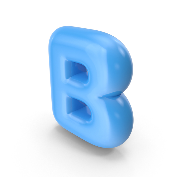 Blue Toon Balloon Letter B PNG & PSD Images