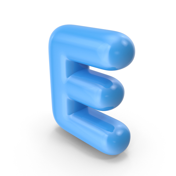 Language: Blue Toon Balloon Letter E PNG & PSD Images