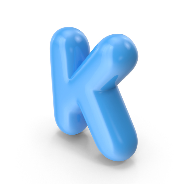 Blue Toon Balloon Letter K PNG & PSD Images