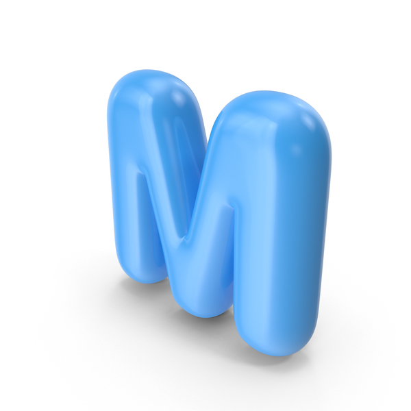 Blue Toon Balloon Letter M PNG & PSD Images