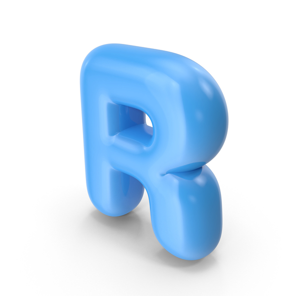 Language: Blue Toon Balloon Letter R PNG & PSD Images