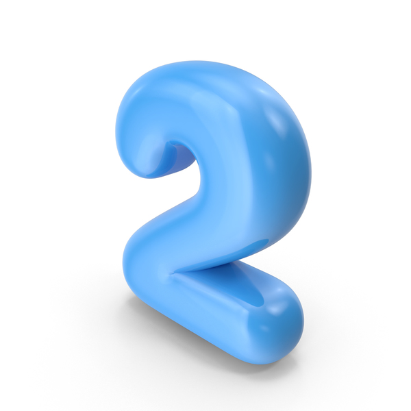 Blue Toon Balloon Number 2 PNG & PSD Images