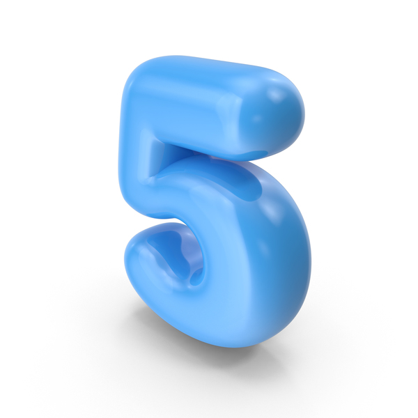 Blue Toon Balloon Number 5 PNG & PSD Images