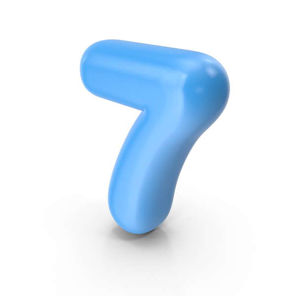 Blue Toon Balloon Number 7 PNG & PSD Images