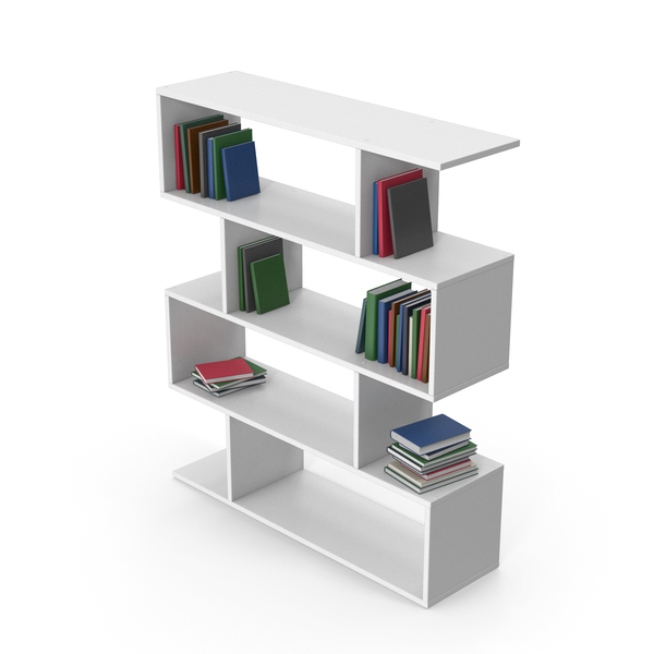 Bookcase: Book Case White With Books PNG & PSD Images