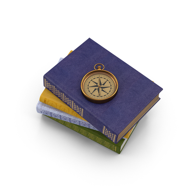 Books and Compass PNG & PSD Images
