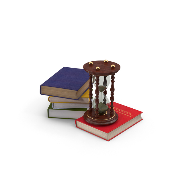 Books and Hourglass PNG & PSD Images