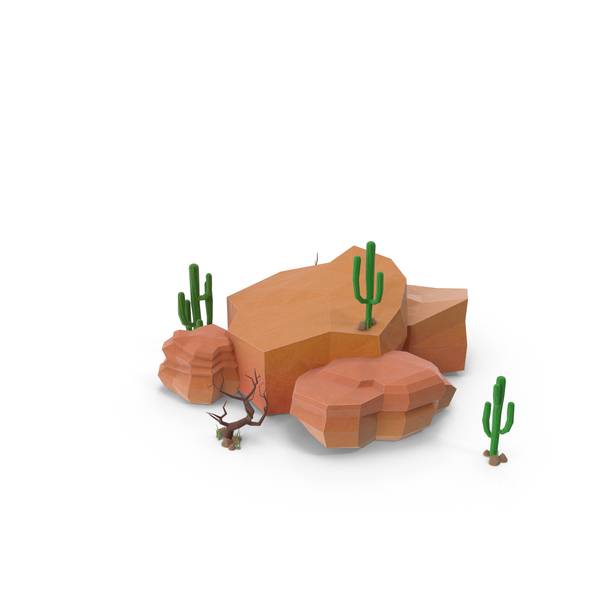 Boulder with Cacti PNG & PSD Images