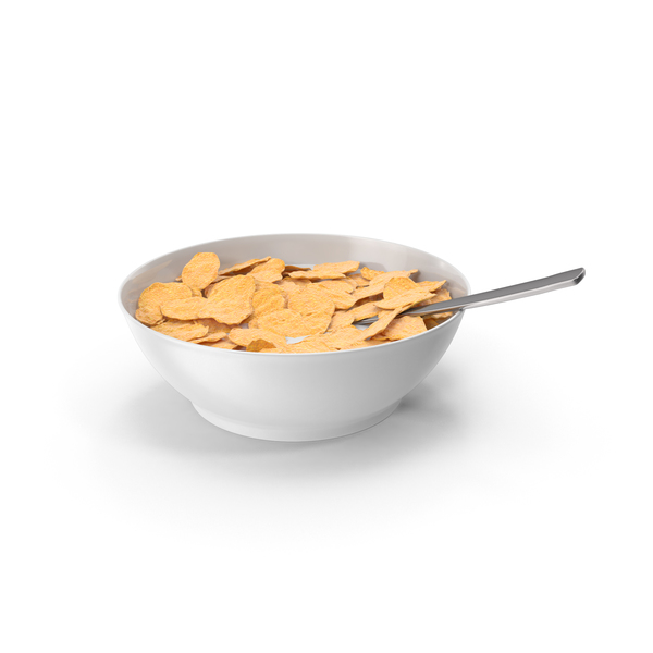 Bowl Of Cereal With Spoon PNG & PSD Images