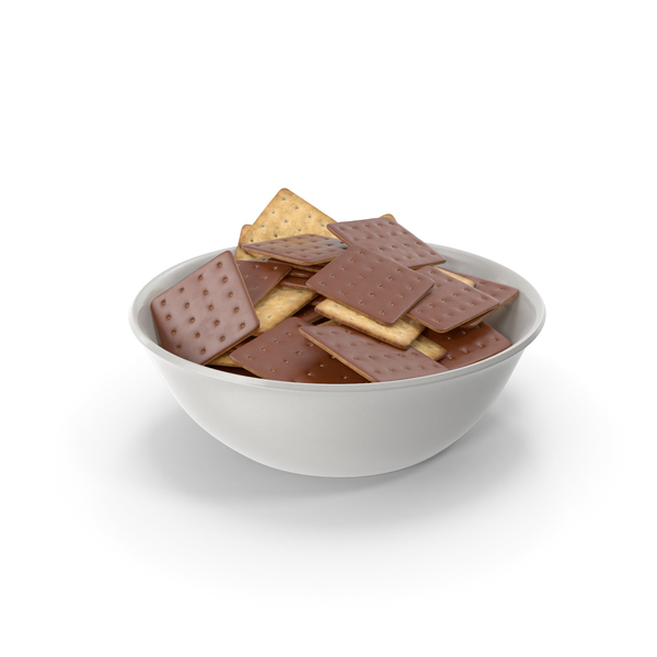 Bowl with Chocolate Covered Square Crackers PNG & PSD Images