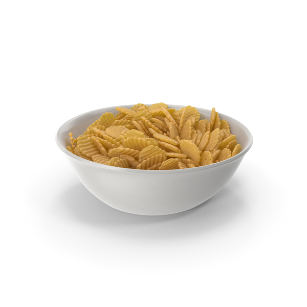 Bowl with Crinkle Cut Wavy Potato Chips PNG & PSD Images