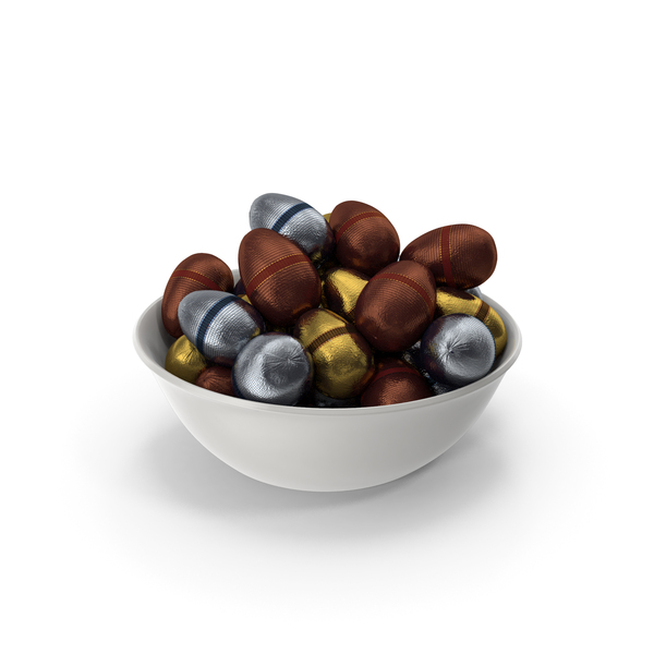 Candy: Bowl with Fancy Wrapped Chocolate Easter Eggs PNG & PSD Images