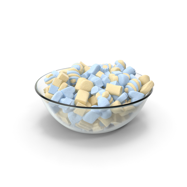 Bowl with Mixed Marshmellows PNG & PSD Images