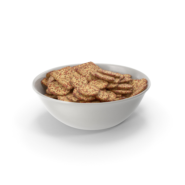 Bowl with Mixed Spicy Seasoned Crackers PNG & PSD Images