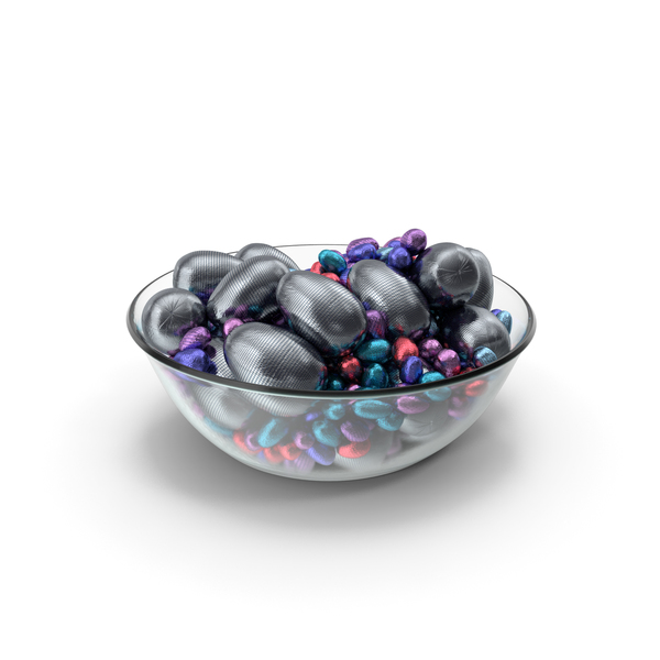 Candy: Bowl with Mixed Wrapped Chocolate Easter Eggs PNG & PSD Images