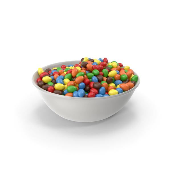 Bowl with Peanuts with Colored Chocolate Coating PNG & PSD Images