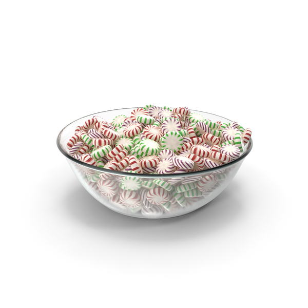 Bowl with StarLight Peppermint Candy PNG & PSD Images