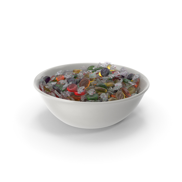 Bowl with Wrapped Oval Candy PNG & PSD Images