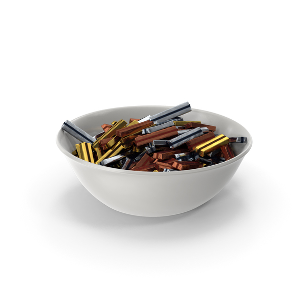 Bowl with Wrapped Rectangle Chocolate Candy PNG & PSD Images