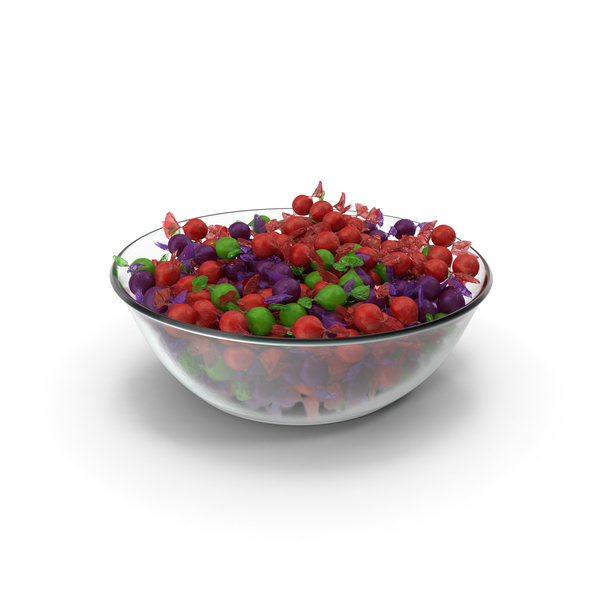 Bowl with Wrapped Spherical Candy PNG & PSD Images