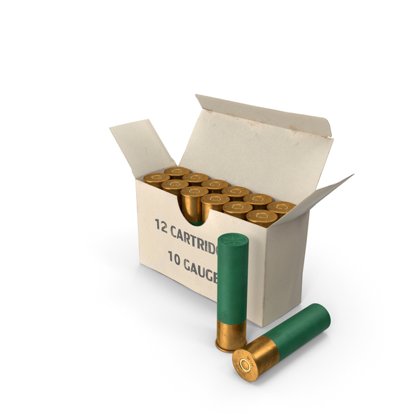 Box of 10 Gauge Shotgun Shells PNG & PSD Images