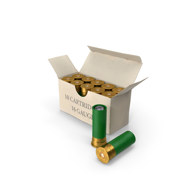 Box of 16 Gauge Shotgun Shells PNG & PSD Images