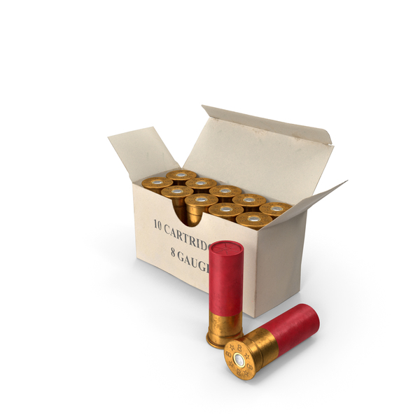 Box of 8 Gauge Shotgun Shells PNG & PSD Images