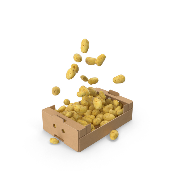 Box With Flying Potatoes PNG & PSD Images