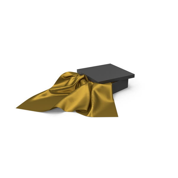 Black Box with Gold Silk Fabric PNG & PSD Images