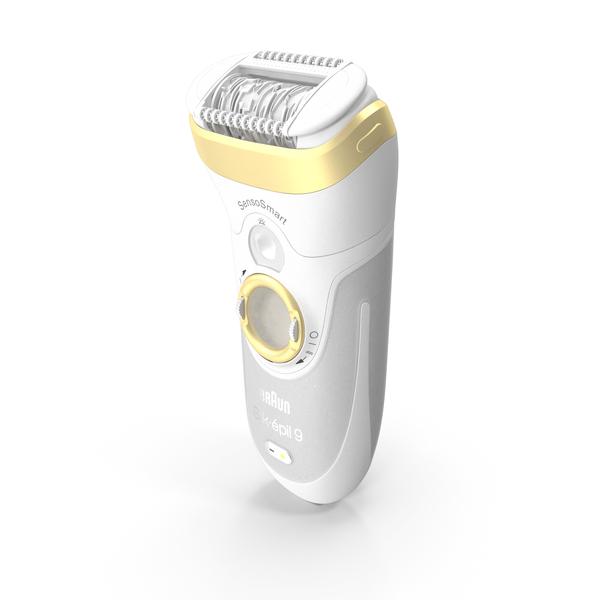 Electric Razor: Braun Epilator Silk Epil 9 SensoSmart Gold PNG & PSD Images