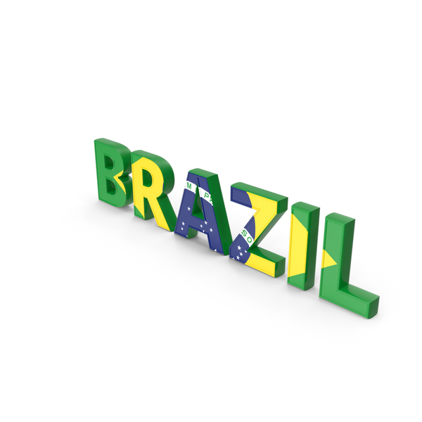 Language: Brazil Text with Flag PNG & PSD Images
