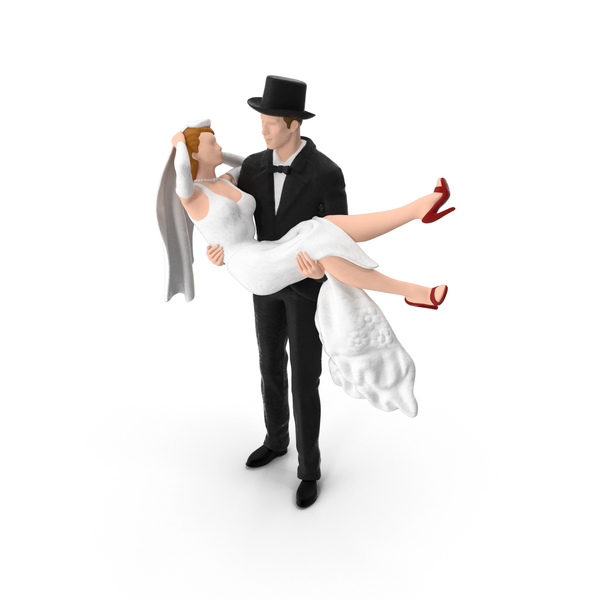 Bride and Groom Miniature with Top Hat PNG & PSD Images