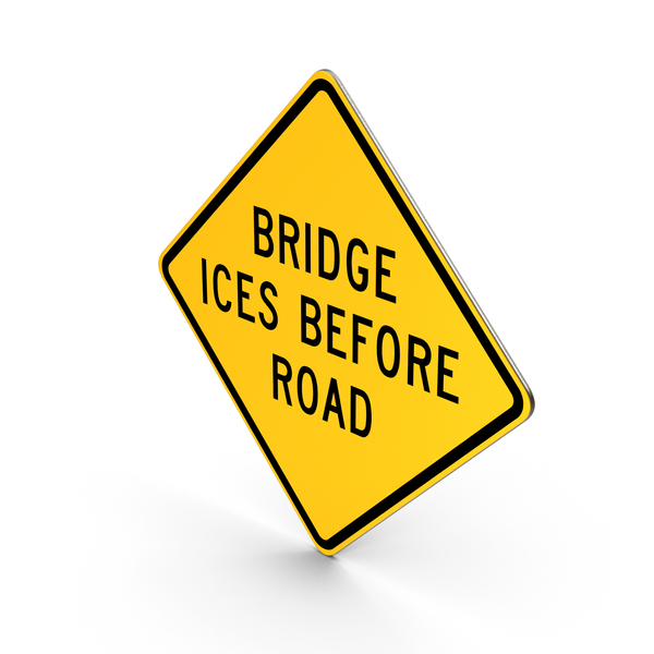 Bridge Ices Before Road Sign PNG & PSD Images
