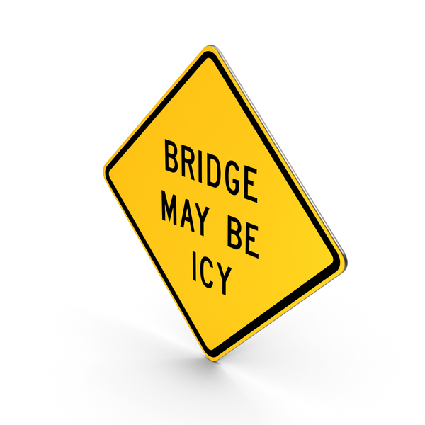 Bridge May Be Icy Michigan Road Sign PNG & PSD Images