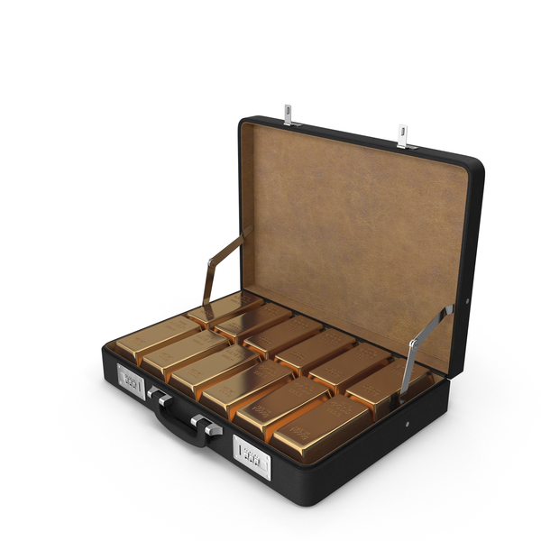 Money: Briefcase of Gold Ingots PNG & PSD Images
