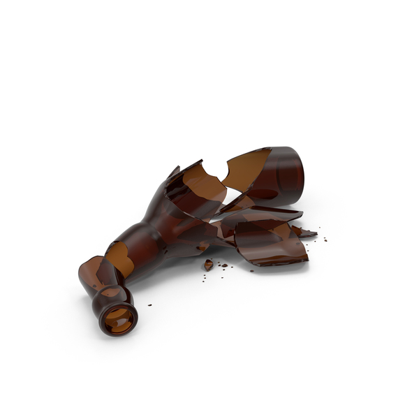 Broken Brown Beer Bottle Object