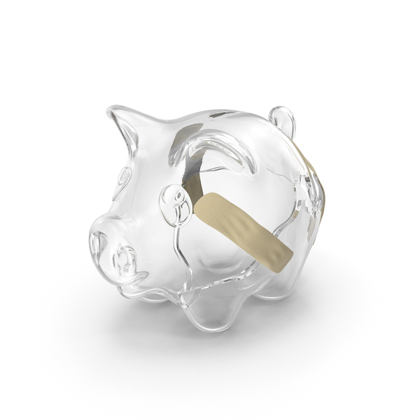 Broken Glass Piggy Bank Object