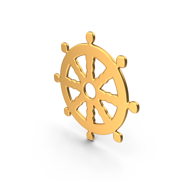 Buddhism Wheel of Dharma Simbol Gold PNG & PSD Images
