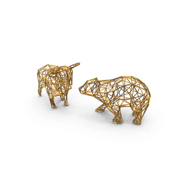 Sculpture: Bull & Bear Gold Wireframe PNG & PSD Images