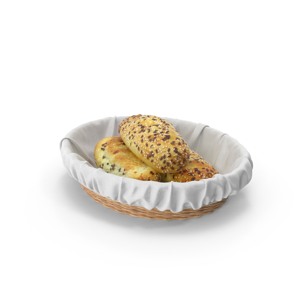 Buns with Sesame Seeds in Wicker Basket PNG & PSD Images