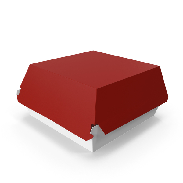 Takeaway Food Container: Burger Box Closed Red White PNG & PSD Images