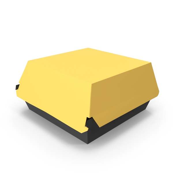 Takeaway Food Container: Burger Box Closed Yellow Black PNG & PSD Images