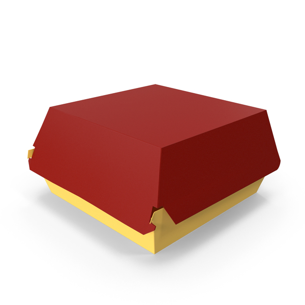 Takeaway Food Container: Burger Box Closed Yellow Red PNG & PSD Images