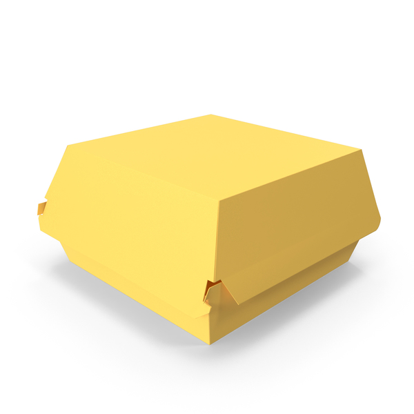 Takeaway Food Container: Burger Box Closed Yellow PNG & PSD Images