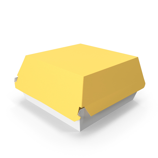 Takeaway Food Container: Burger Box Closed Yellow White PNG & PSD Images