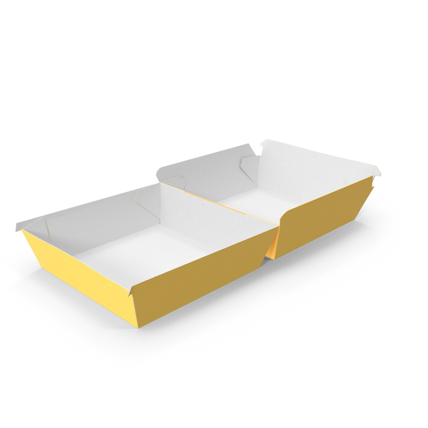 Takeaway Food Container: Burger Box Completely Open Yellow and White PNG & PSD Images