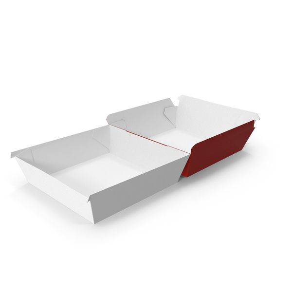 Takeaway Food Container: Burger Box Opened Completely Red and White PNG & PSD Images
