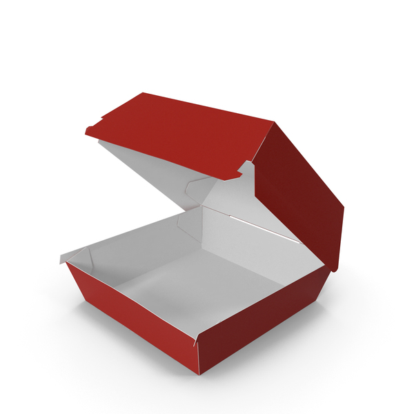 Takeaway Food Container: Burger box Opened Red White PNG & PSD Images