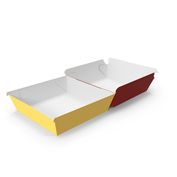 Takeaway Food Container: Burger Box Opened Red Yellow PNG & PSD Images