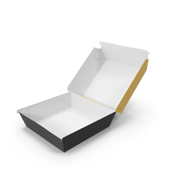 Takeaway Food Container: Burger Box Opened Yellow and Black PNG & PSD Images